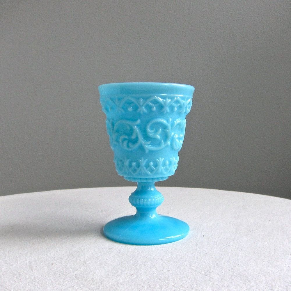 Blue Milk Glass Goblet with Elaborate Lacy Pattern,