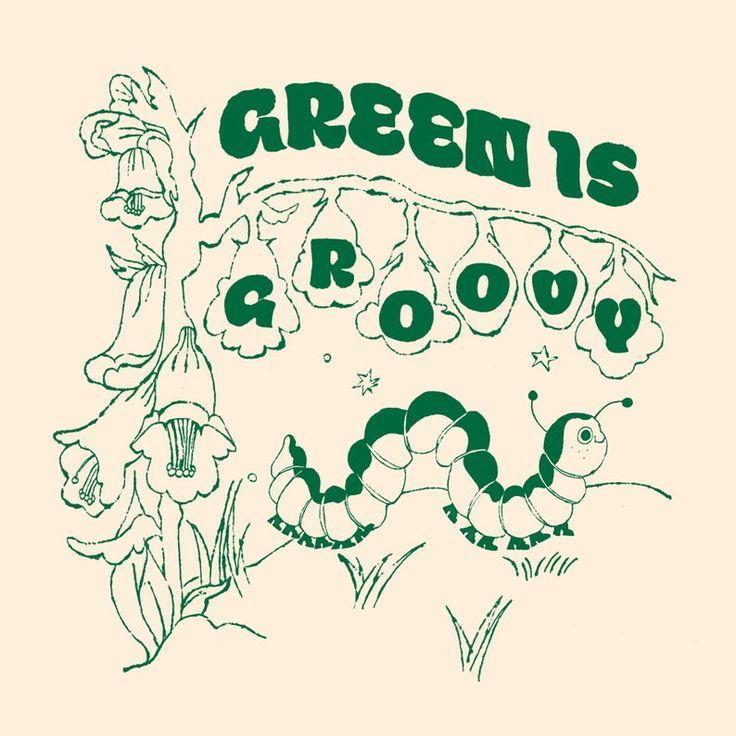 Green is groovy illustration art print  21cmX21cm