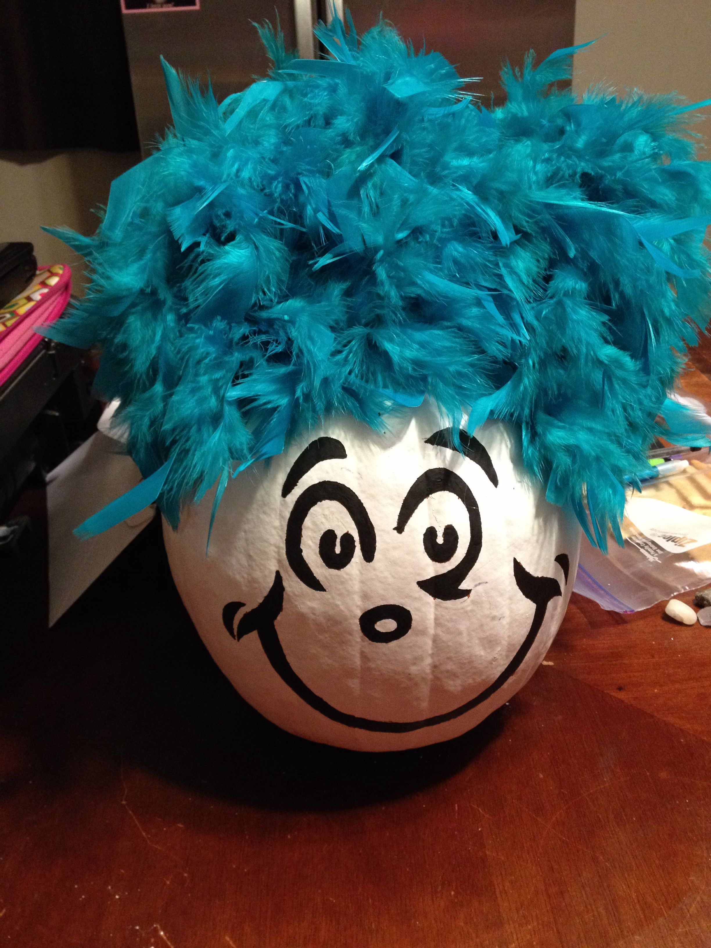 Painted Pumpkin Thing 1 From Dr Seuss