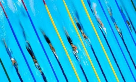 overhead shot of the women's 100m Frestyle heat 3