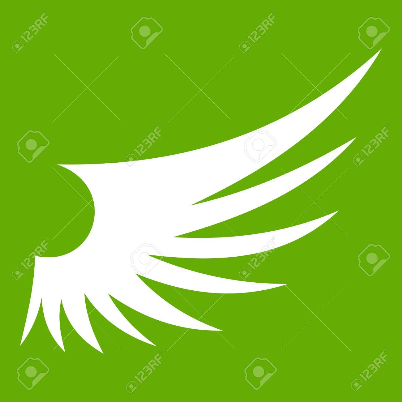 Wing Icon White Isolated On Green Background Vector Illustration Sponsored White Isolated Wing Icon In 2020 Wings Icon Graphic Design Art Green Backgrounds
