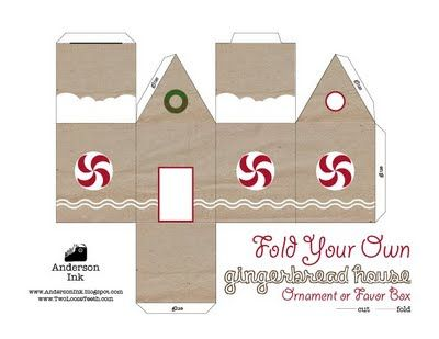 blank gingerbread house template  Printable Gingerbread House in color and blank template ...
