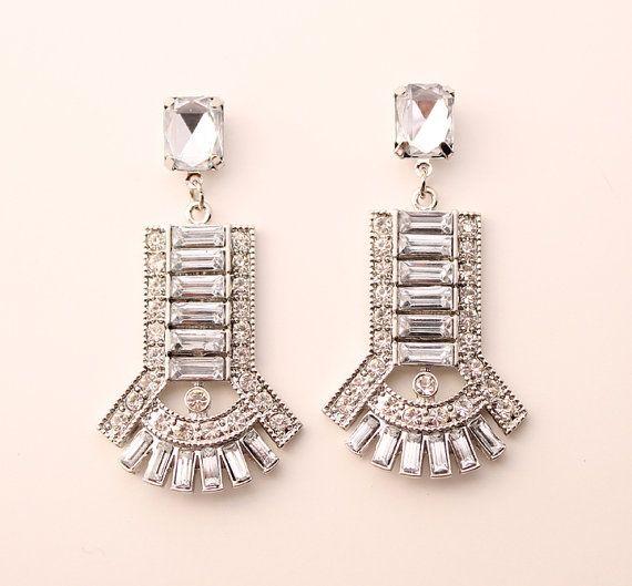 Art Deco Wedding Earrings Chandelier Bling Jewelry Bridal Accessory Great