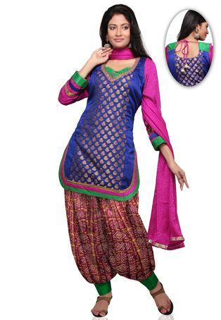 b3be7bc376 Royal Blue Dupion Silk and Chanderi Silk Patiala Suit ~~ooh. Fun colors!~~