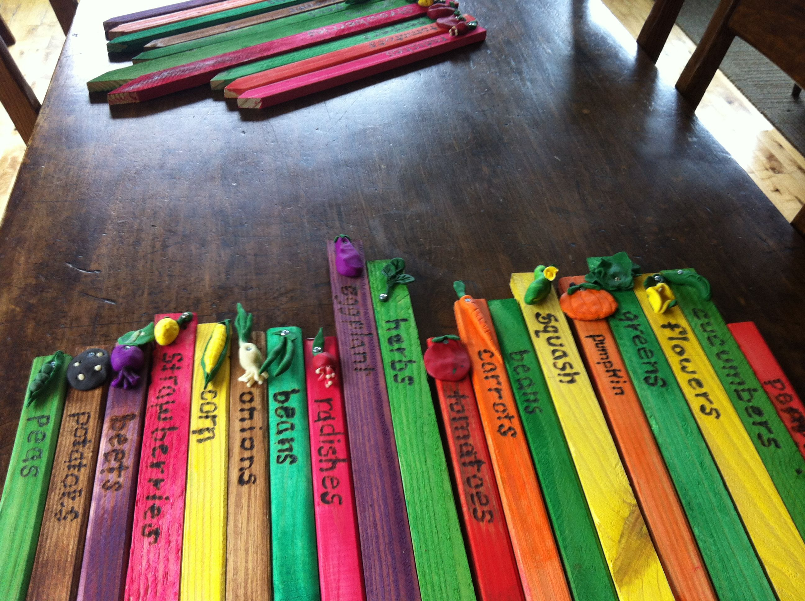 Vegetable Garden Markers Made For Children S With Sculpey A Wood Burner And Home Depot Stakes