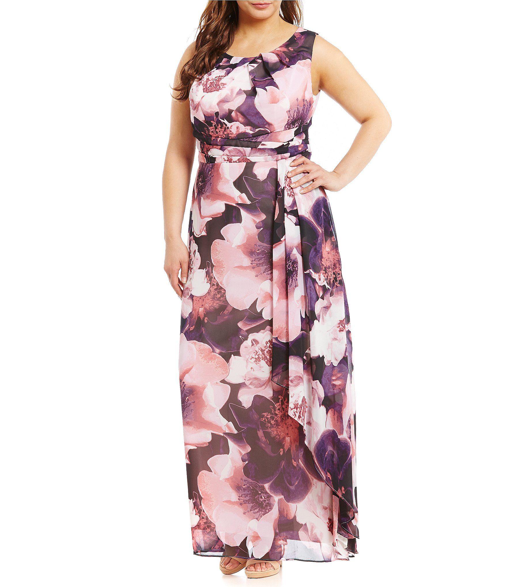 Sangria Plus Printed Chiffon Maxi Dress #Dillards | Clothing ...