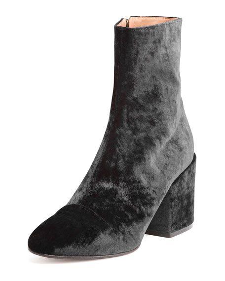 Dries Van Noten Velvet Boots at Bergdorf Goodman