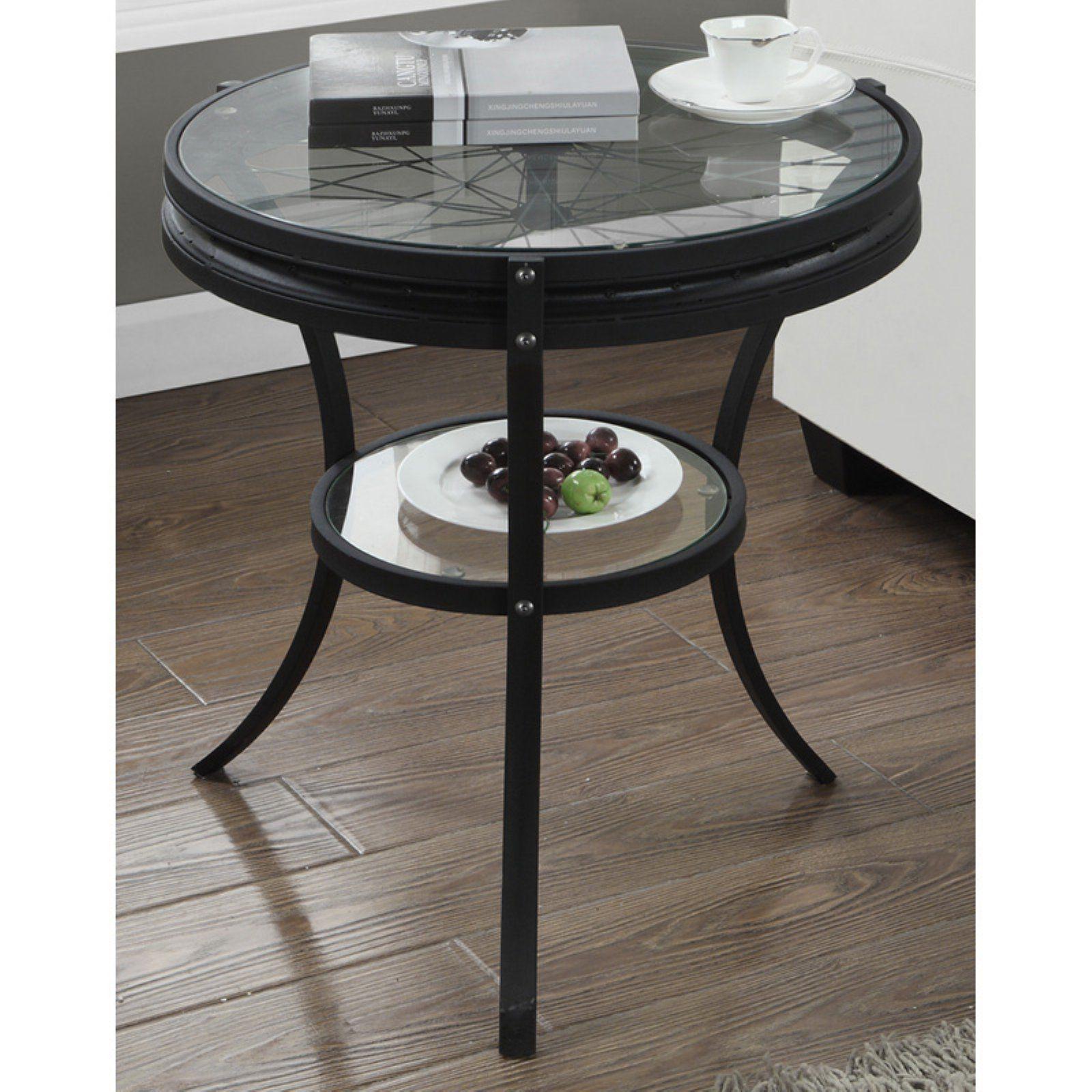 Monarch Specialties Round Spoked Wheel Glass Top End Table Glass Top End Tables End Tables Tempered Glass Shelves