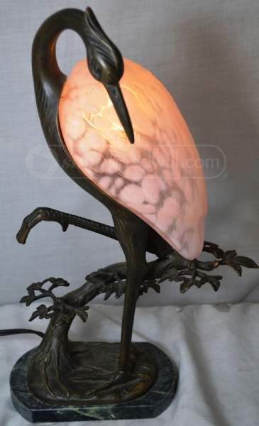 Andrea Sadek Tin Chi Bronze Heron Crane Lamp | Unforgettable