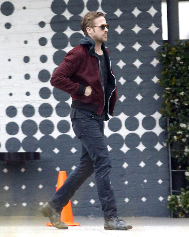 Black t shirt with dark blue jeans - Ryan Gosling Wearing Burgundy Bomber Jacket Black Hoodie Black Crew Neck T Shirt Black Jeans