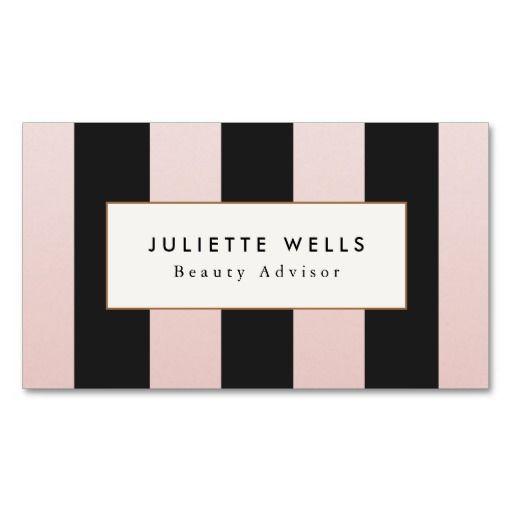 Elegant pink and black striped beauty salon business card elegant pink and black striped beauty salon business card flashek Image collections