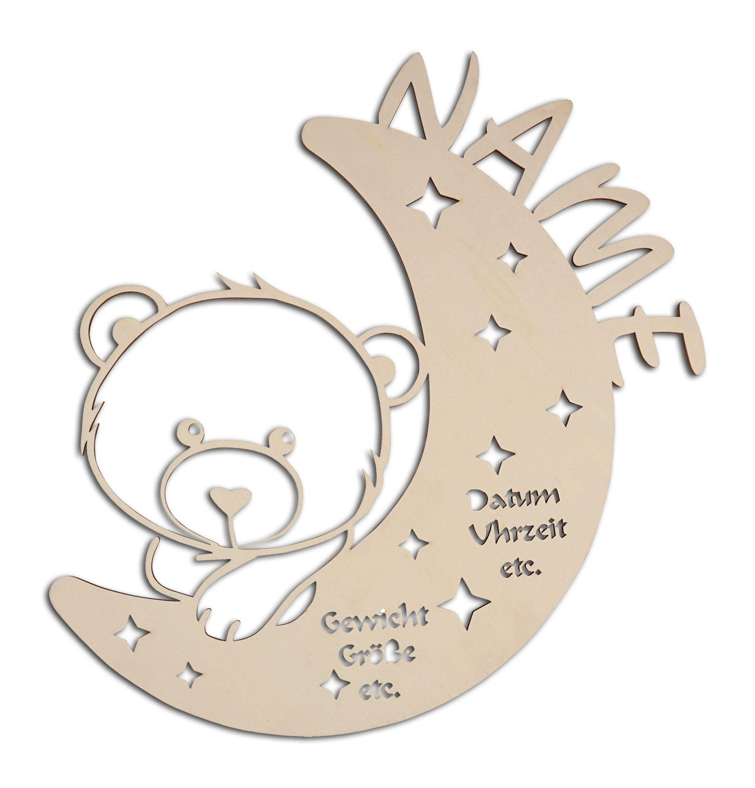 Nachtlicht Teddy Bar Auf Mond Mit Namen Personalisiert Zur Taufe Taufgeschenke Geschenke Zur Geburt