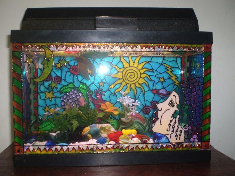 Diy painted aquarium decor things do do someday for Diy fish tank decor