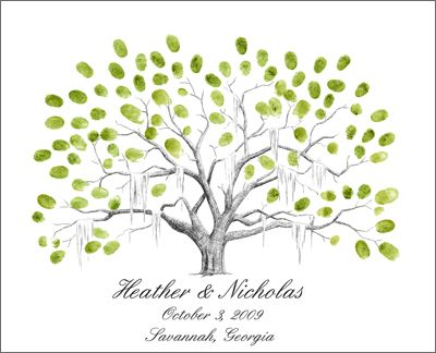 Savannah Live Oak Thumbprint Tree Wedding Guestbook Alternative