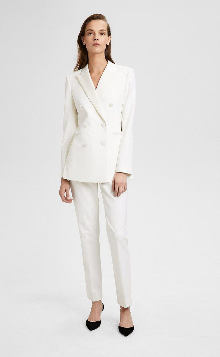 26 Beautiful Bridal Suits For Your Rehearsal Dinner Wedding And Beyond White Wedding Suit Wedding Suits For Bride Wedding Dress Suit
