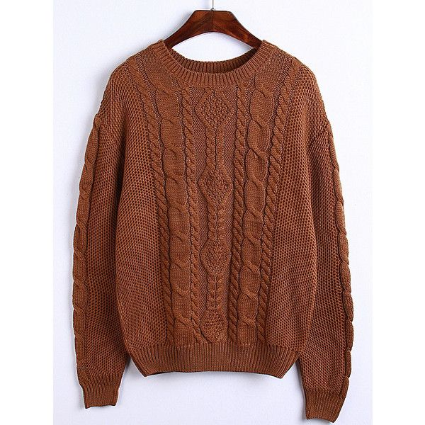 Round Neck Cable Knit Khaki Sweater ($21) ❤ liked on Polyvore featuring tops, sweaters, khaki, pullover sweater, brown pullover sweater, chunky cable knit sweater, cable pullover and acrylic sweater