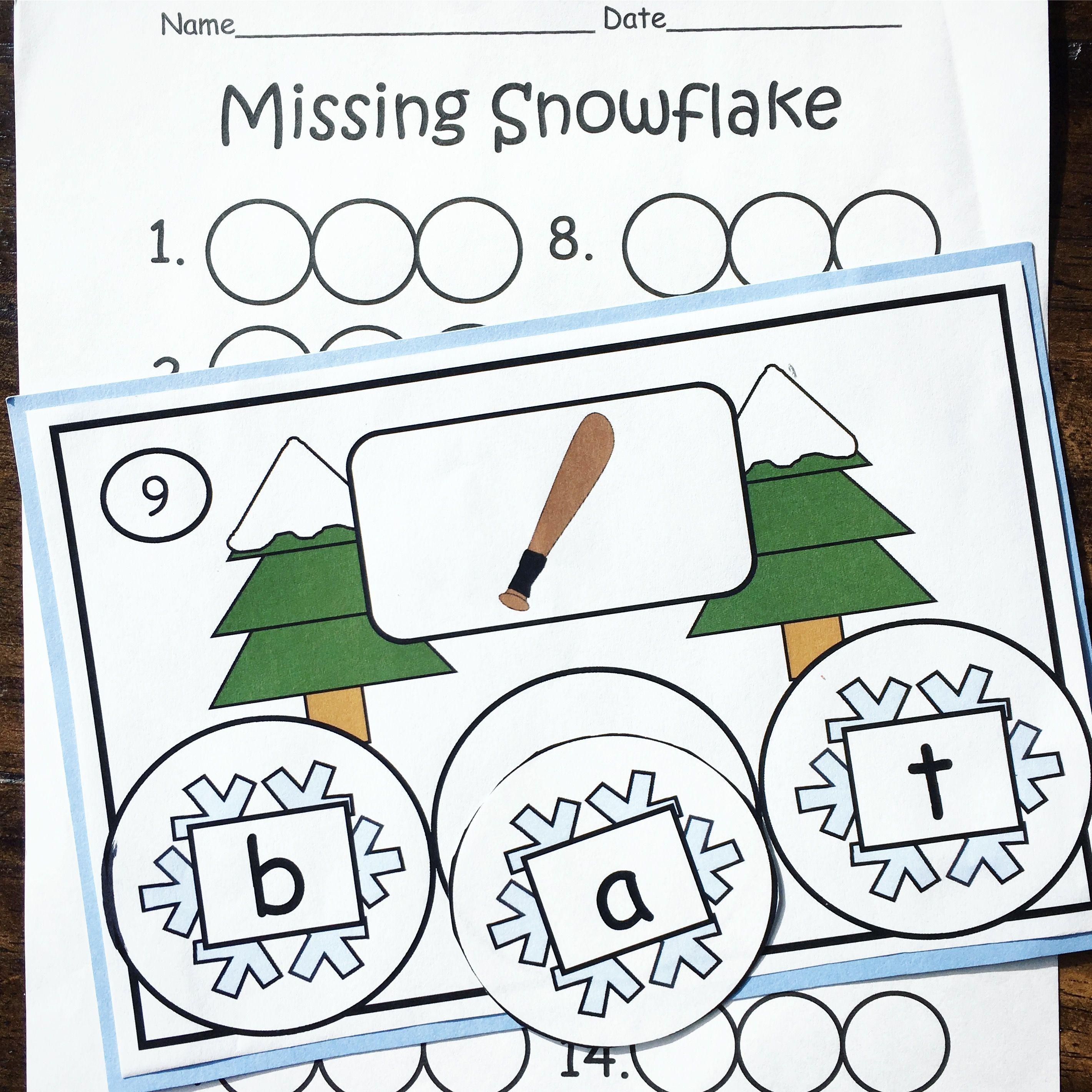 Winter Middle Sound Short Vowel Practice Missing