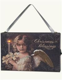 Christmas Blessings Lighted Canvas Ornament