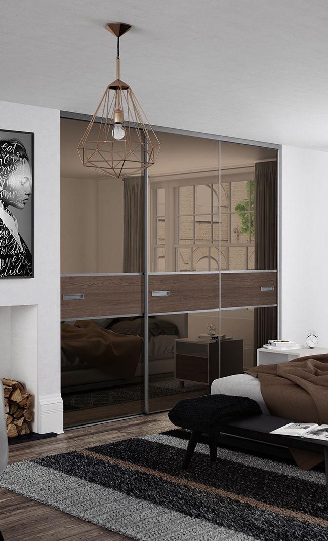 Premium Mini 3 panel fineline sliding wardrobe doors in Bronze Mirror and Tortona Chestnut wood with & Premium Mini 3 panel fineline sliding wardrobe doors in Bronze ...
