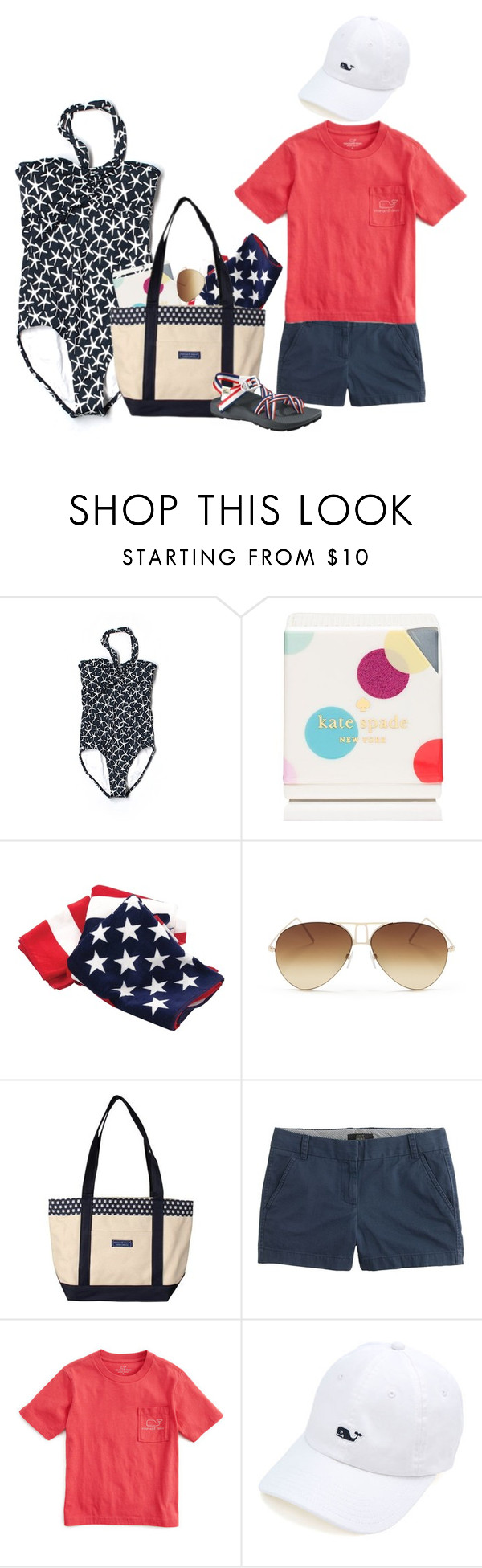 """A Day at the Tropical Beach-Day 3 of Contest"" by sc-prep-girl on Polyvore featuring Vineyard Vines, Kate Spade, Victoria Beckham, J.Crew, Chaco, remigets1K and 1Kforspring"