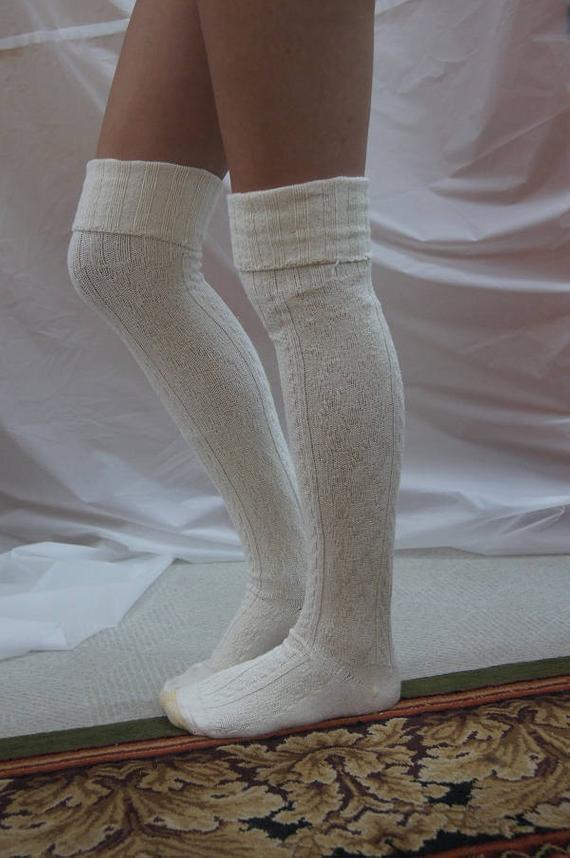 1f740e67b Over the Knee socks Ivory chunky thick warm socks Tall Socks Cuff Boots  Socks