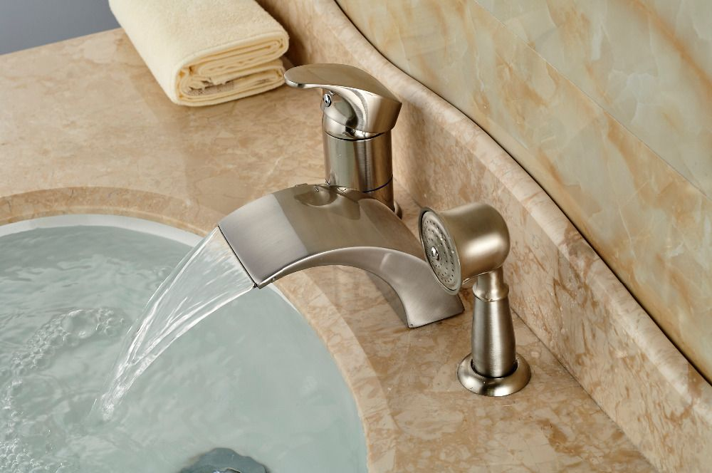 Brushed Nickel Roman Waterfall Spout Tub Faucet Bathroom Sink Mixer Tap W  Hand Sprayer