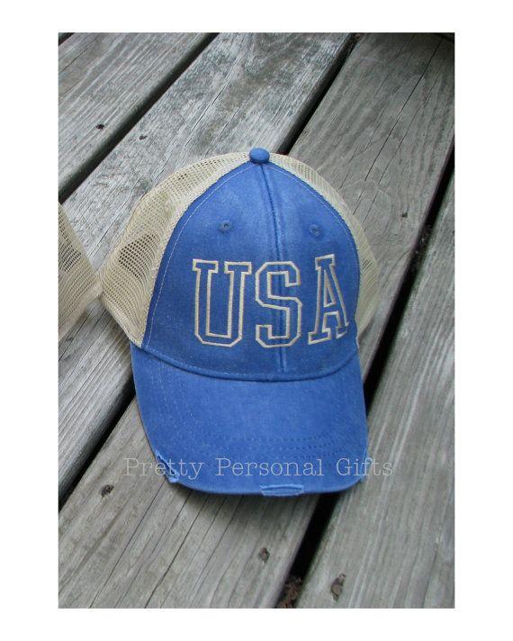 ef5e3035c USA Trucker Hat, USA baseball hat, Distressed Trucker Hat, Patriotic ...
