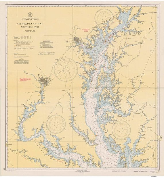 This Old Nautical Map of Chesapeake Bay Northern Part Is one of two