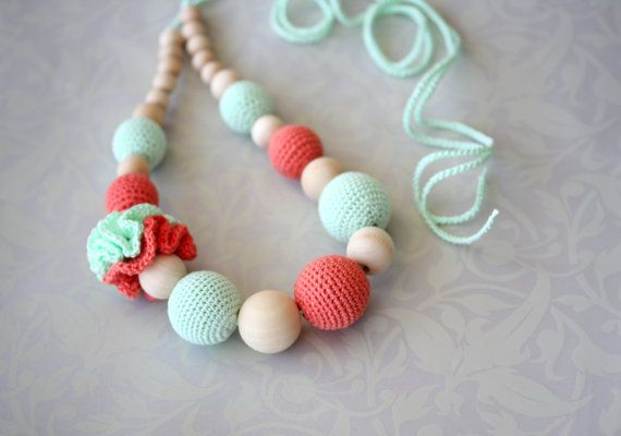 Crochet necklace,Teething necklace, Nursing Breastfeeding necklace, mint, coral on Etsy, $29.90 AUD