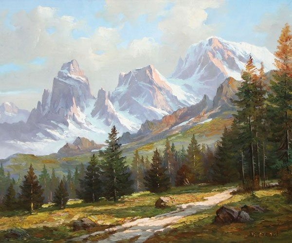 FINE & LARGE AMERICAN SIERRA'S OIL PAINTING SIGNED - Nov 17, 2015 | Jackson's Auction in IA