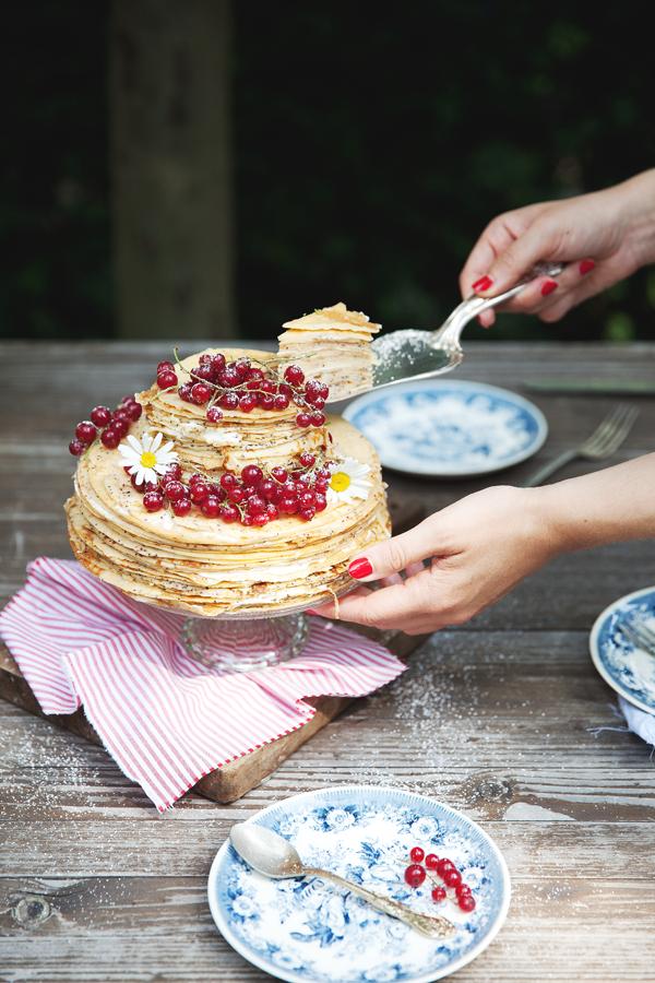 Crepetorte Mit Creme Fraiche Vanille Fullung Kuchen Torten
