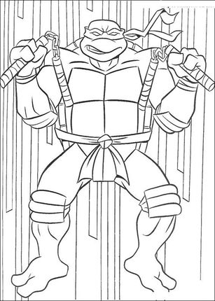 Michelangelo With Dual Nunchucks Coloring Page Supercoloring Com Ninja Turtle Coloring Pages Turtle Coloring Pages Cool Coloring Pages
