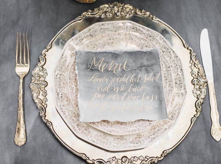 Wedding Menu | Old World Charm Styled shoot | itakeyou.co.uk