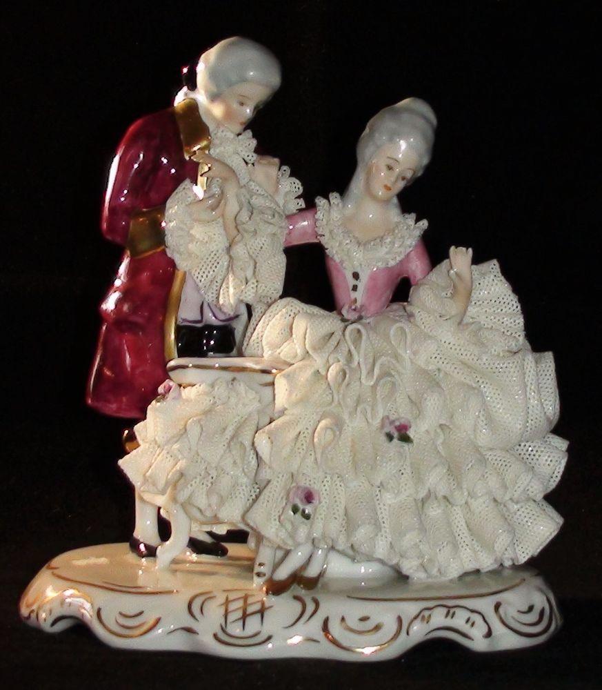 Vintage Karl Klette Porcelain Lace Figural Group Figurine Germany Dresden