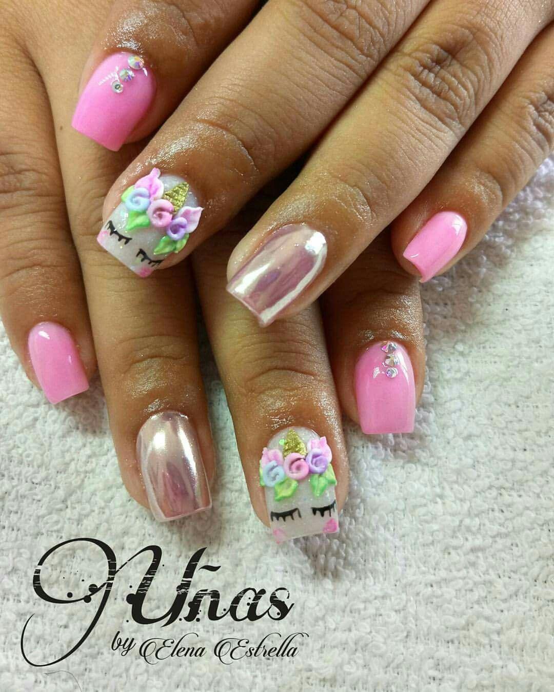 3D unicorn nails   Uñas   Pinterest   Diseños de uñas, Unicornio y ...