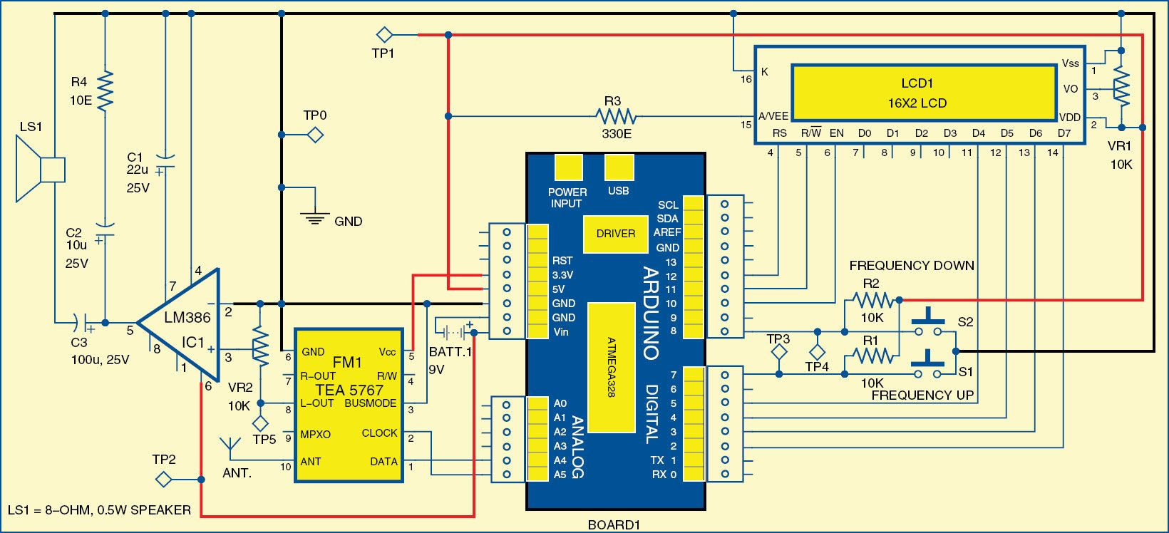 Fm Receiver Circuit Using Arduino Radio Pinterest Electronics Projects Electronic Schematics Digital For You