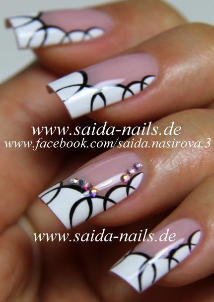 French Nail Art In Black And White Fingerngel Pinterest