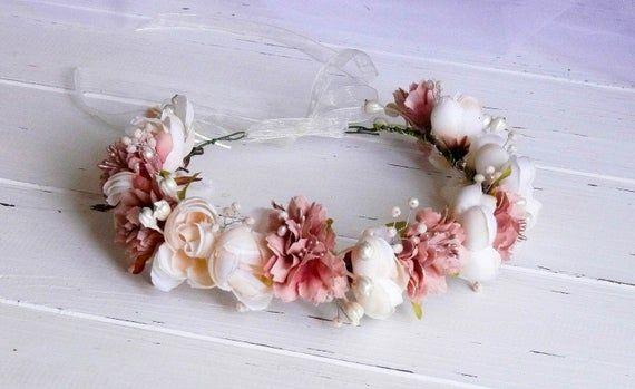 Flower Girl Crown, Flower Girl Headpiece, Flower Crown Wedding, Flower Head Wreath, Flower Crown Ivory, Blush Pink Floral Headband, Tiara #flowerheadwreaths