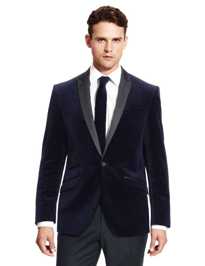 a85b92f66f7 Pure Cotton 1 Button Satin Collar Velvet Jacket | Suits | Velvet ...