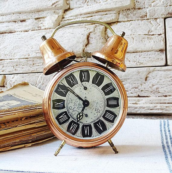 Vintage German Copper Alarm Clock Working Double Bell ...
