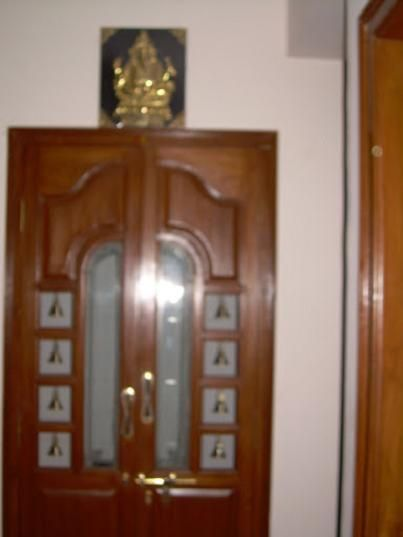 Wood Door With Glass For Pooja Room