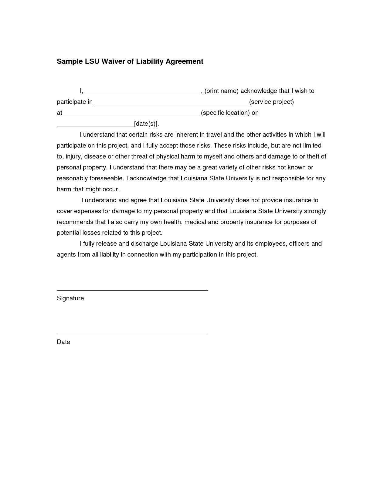 Liability Release Form Template in images waiver of liability – Waiver of Liability Form Free