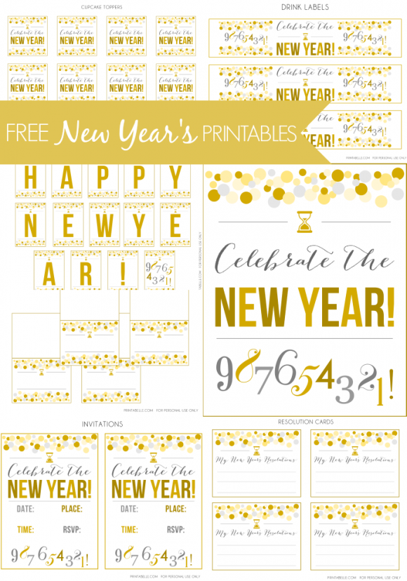 Free New Year\'s Party Printables | Party printables, Nye and Free ...