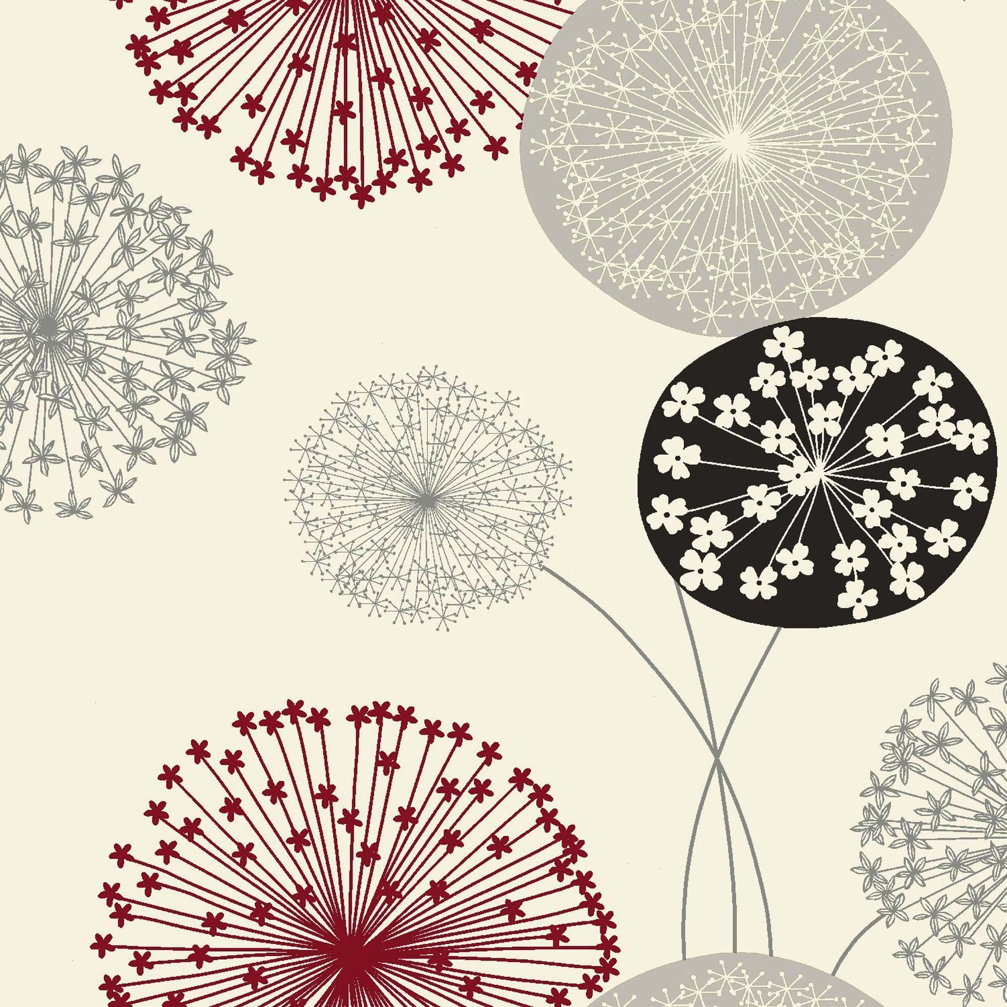 Lucienne Grey & Red Floral Wallpaper - Departments - Diy
