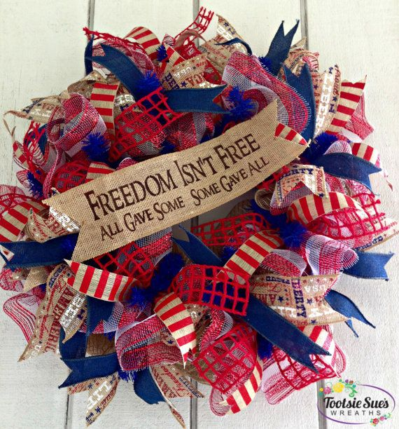 LargePatrioticFreedomWreath by TootsieSuesWreaths on Etsy, $65.00