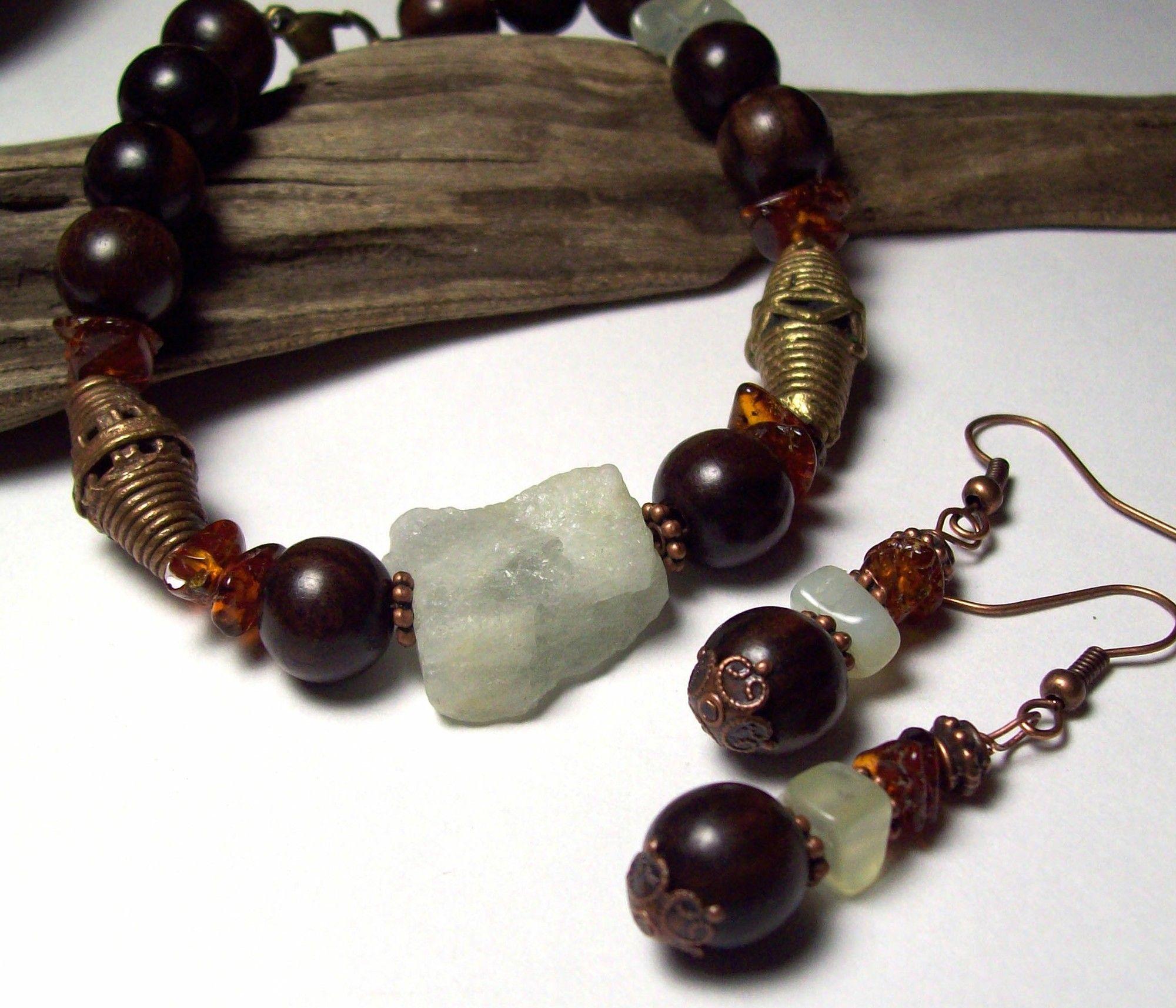 riverpebble stonewear ~ handmade jewelry - TAIFA- Tiger Ebony, Aquamarine and Trade Bead Bracelet and Earring set