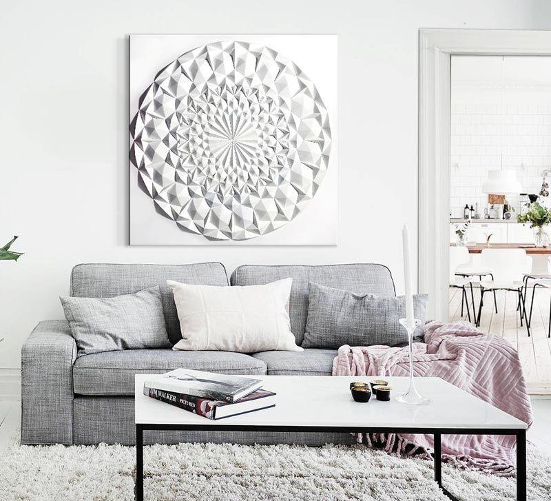 Cuadros modernos online mandala en color blanco original - Cuadros salon moderno ...