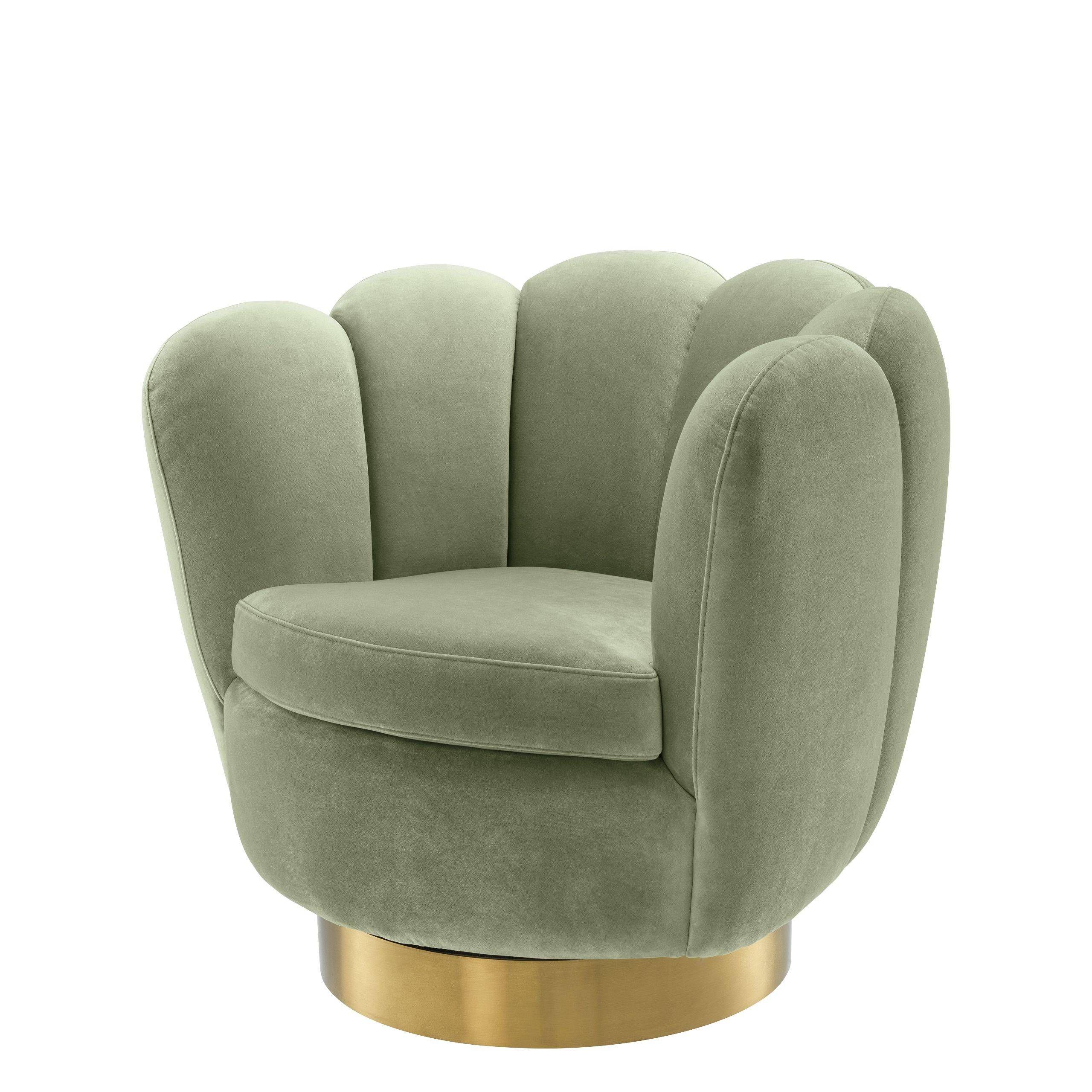 Green Scalloped Swivel Chair Eichholtz Mirage Swivel Barrel Chair Chair Swivel Chair