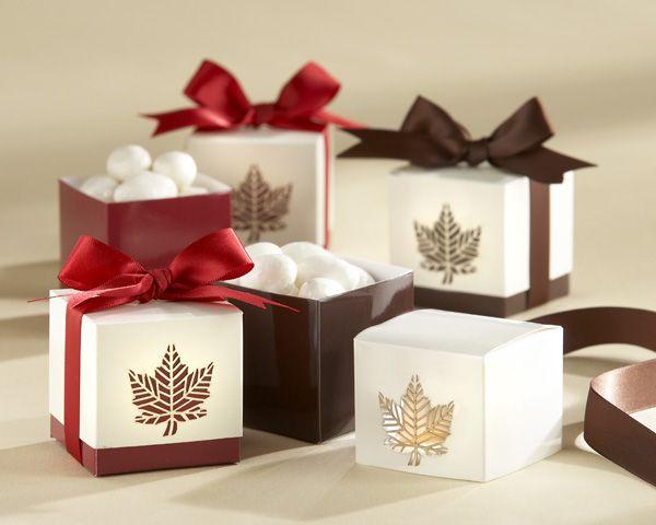 Autumn Elegance Laser Cut Fall Leaf Wedding Favors Box Set Of 2