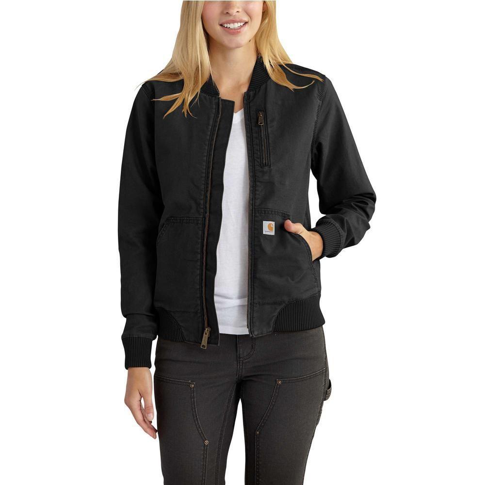 Carhartt Women S Small Black Canvas Crawford Bomber Jacket 102524 001 The Home Depot Bomber Jacket Women Carhartt Women Outerwear Women [ 1000 x 1000 Pixel ]